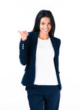 Femme d'affaires heureuse avec le pouce Photo stock