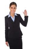 Femme d'affaires heureuse d'isolement présent et montrant au-dessus de b blanc Photo libre de droits