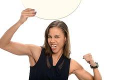 Femme d'affaires Holding Circular Sign photo libre de droits