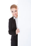 Femme d'affaires Holding Placard Photos stock