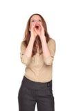 Femme d'affaires - hurlement du mégaphone de main Image libre de droits