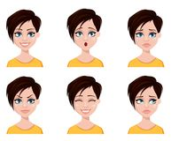 Femme d'affaires, indépendante, banquier Ensemble d'émotions illustration libre de droits