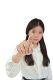 Femme d'affaires indiquant vous Photo stock