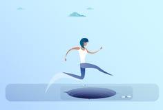 Femme d'affaires Jump Over Gap au concept de risque de femme d'affaires de succès illustration stock