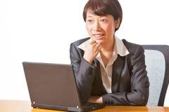 Femme d'affaires lors du contact Image libre de droits