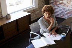 Femme d'affaires mûre travaillant dans le bureau images libres de droits