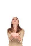 Femme d'affaires - mains évasées photo stock