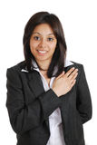 Femme d'affaires mettant en gage avec la main sur le coffre photographie stock libre de droits