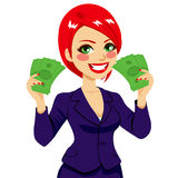 Femme d'affaires Money Fan Success Images stock