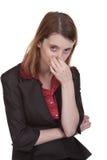 Femme d'affaires - nez de fixation Images libres de droits