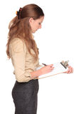 Femme d'affaires - notes de planchette photos stock