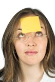 Femme d'affaires - papier de post-it Photo libre de droits