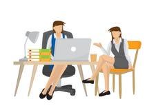 Femme d'affaires parlant et consultant une autre femme d'affaires féminine illustration libre de droits