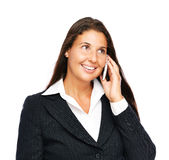 Femme d'affaires parlant sur le téléphone portable Image stock