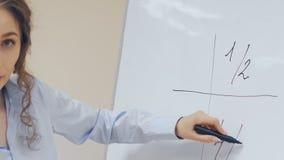 Femme d'affaires peignant le diagramme dinancial sur le conseil blanc banque de vidéos