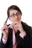 Femme d'affaires pensante photo stock