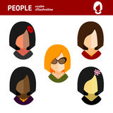 Femme d'affaires plate d'avatar sur le fond blanc Image libre de droits