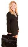 Femme d'affaires portant une serviette Photos stock