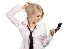 Femme d'affaires posant avec le miroir Photos stock