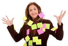 Femme d'affaires - post-its Image libre de droits