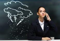 Femme d'affaires préoccupée Image stock