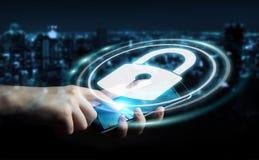 Femme d'affaires protégeant ses données avec l'interface 3D de sécurité au sujet de Photo libre de droits
