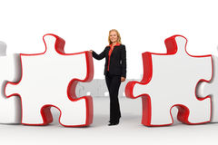 Femme d'affaires - puzzles rouges Photographie stock