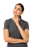 Femme d'affaires réfléchie Against White Background Photo libre de droits