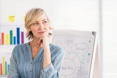 Femme d'affaires réfléchie devant un conseil blanc images libres de droits