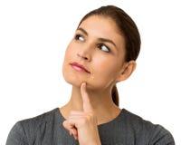 Femme d'affaires réfléchie Over White Background Photographie stock libre de droits