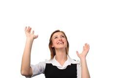 Femme d'affaires recherchant au ciel Photo stock