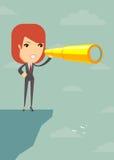 Femme d'affaires recherchant l'avenir d'affaires sur la falaise illustration de vecteur