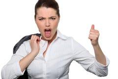 Femme d'affaires renonçant à des pouces Photos libres de droits