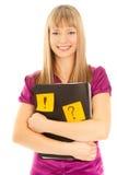 Femme d'affaires retenant un dépliant avec collant Photo stock