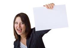 Femme d'affaires retenant un signe blanc photo libre de droits