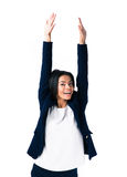 Femme d'affaires riante avec les mains augmentées  Images libres de droits