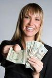 Femme d'affaires riante d'argent photos stock