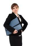 Femme d'affaires sérieuse avec la serviette Photos stock
