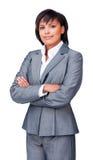 Femme d'affaires sérieuse avec les bras pliés image libre de droits