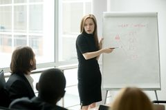 Femme d'affaires sérieuse présentant l'exposé au busine multi-ethnique Images stock