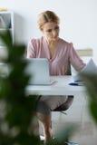 Femme d'affaires sérieuse travaillant avec des documents Images libres de droits