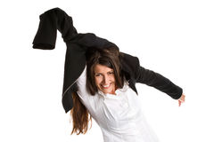 Femme d'affaires se dépêchant vers le haut Photographie stock