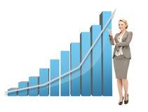 Femme d'affaires se dirigeant au grand diagramme 3d Photo libre de droits