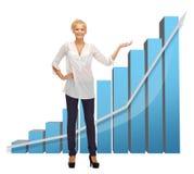 Femme d'affaires se dirigeant au grand diagramme 3d Photos libres de droits