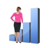 Femme d'affaires se dirigeant au grand diagramme 3d Image stock