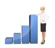 Femme d'affaires se penchant sur le grand diagramme 3d Images stock