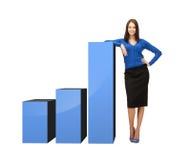 Femme d'affaires se penchant sur le grand diagramme 3d Image stock