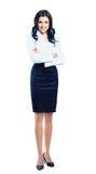 Femme d'affaires se tenant dans intégral d'isolement Image stock