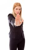 Femme d'affaires Showing Stop Gesture Photographie stock