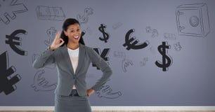 femme d'affaires souriant avec le signe correct illustration libre de droits